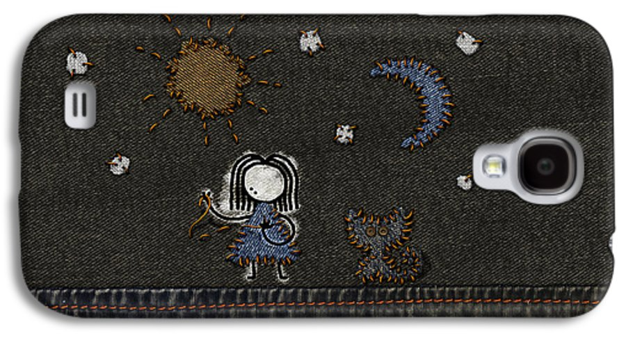 Abstract Galaxy S4 Case featuring the digital art Jeans Stitches by Gianfranco Weiss