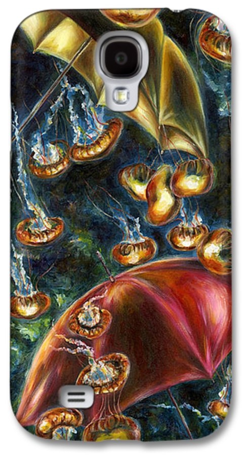 Jellyfish Galaxy S4 Case featuring the painting Jellyfishy Evening by Hiroko Sakai