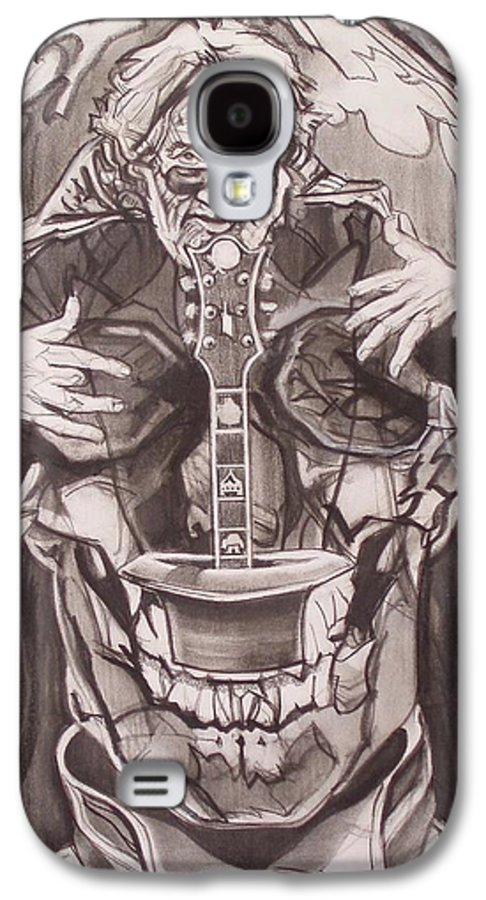 Charcoal; Skull;guitar;music;magic;mystic;wizard;cape;hat;shades;grateful Dead;deadheads Galaxy S4 Case featuring the drawing Jerry Garcia . . Magic Is What We Do - Music Is How We Do It by Sean Connolly