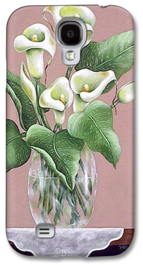 Oil Galaxy S4 Case featuring the painting Josies Lilies by Ruth Bares