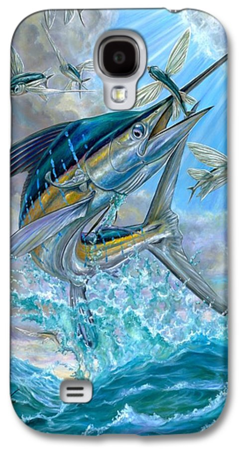 White Marlin Galaxy S4 Case featuring the painting Jumping White Marlin And Flying Fish by Terry Fox
