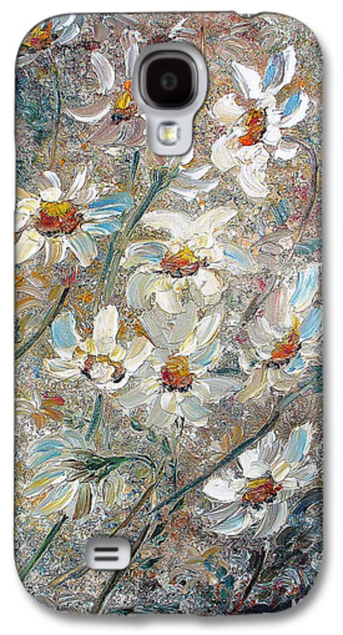 Daisies Painting Abstract Flower Painting Botanical Painting Bloom Greeting Card Painting Galaxy S4 Case featuring the painting Just Dasies by Karin Dawn Kelshall- Best