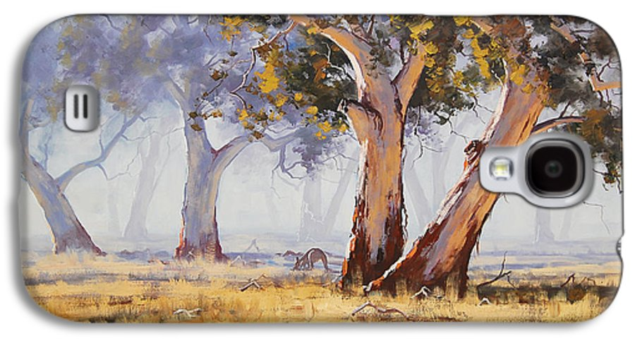 Eucalyptus Trees Galaxy S4 Case featuring the painting Kangaroo Grazing by Graham Gercken