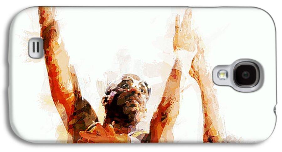 kareem Abdul Jabbar Galaxy S4 Case featuring the digital art Kareem Abdul Jabbar N B A Legend by Daniel Hagerman