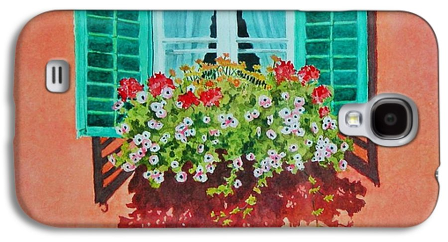 Window Box Galaxy S4 Case featuring the painting Kitzbuhel Window by Mary Ellen Mueller Legault