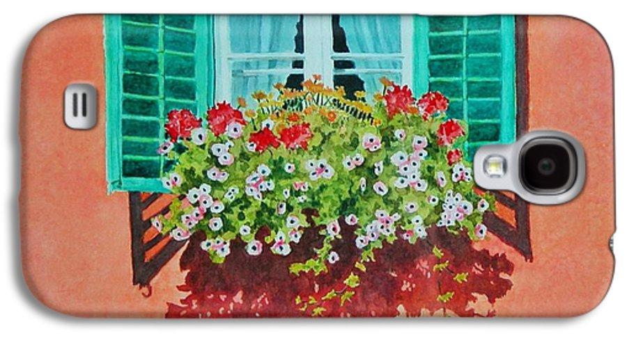 Window Box Galaxy S4 Case featuring the painting Kitzbuhel Window by Mary Ellen Mueller Legault