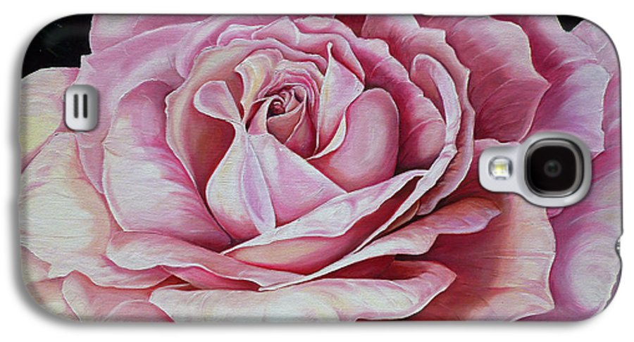 Rose Painting Pink Rose Painting  Floral Painting Flower Painting Botanical Painting Greeting Card Painting Galaxy S4 Case featuring the painting La Bella Rosa by Karin Dawn Kelshall- Best
