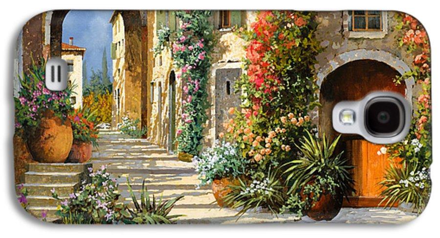 Landscape Galaxy S4 Case featuring the painting La Porta Rossa Sulla Salita by Guido Borelli