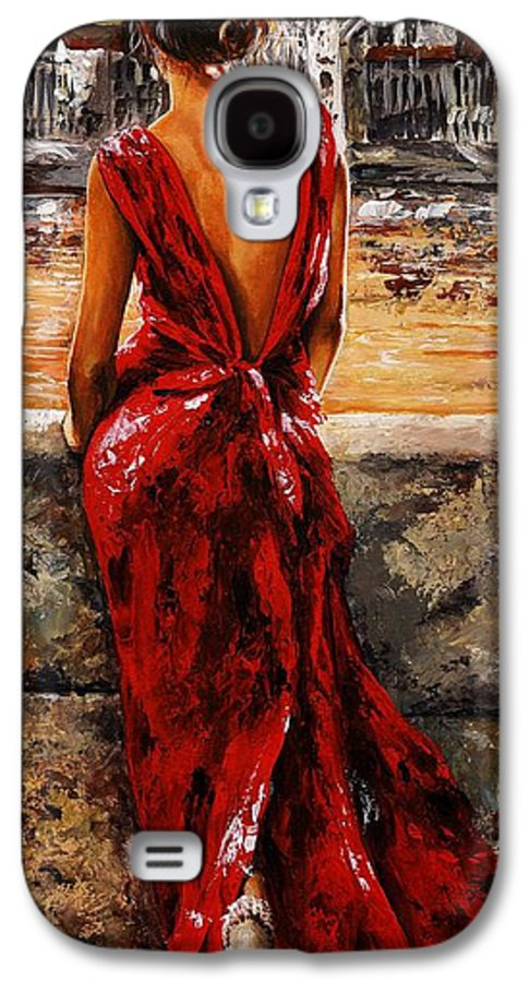 Lady Galaxy S4 Case featuring the painting Lady In Red 34 - I Love Budapest by Emerico Imre Toth