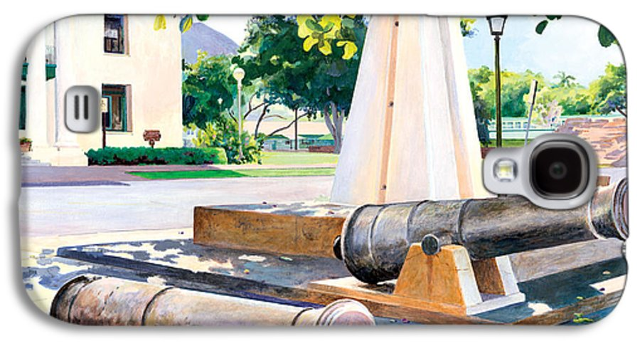Lahaina Maui Cannons Galaxy S4 Case featuring the painting Lahaina 1812 Cannons by Don Jusko