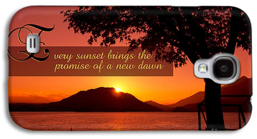 Every Sunset Brings The Promise Of A New Dawn Galaxy S4 Case featuring the photograph Lake Sunset With Promise Of A New Dawn by Beverly Claire Kaiya