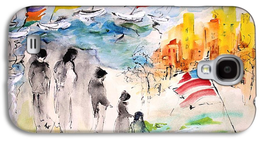 American Flag Galaxy S4 Case featuring the painting Land Of Plenty by Mary Spyridon Thompson