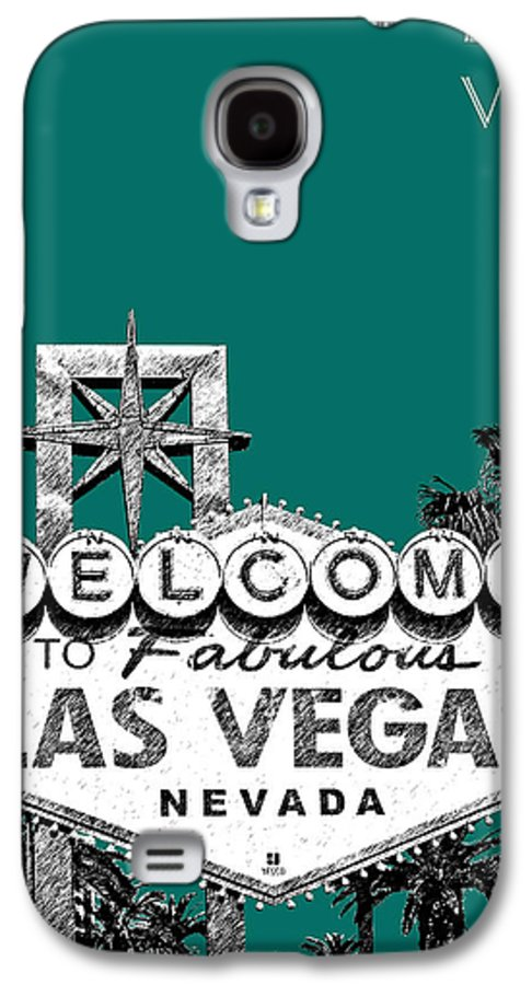 Architecture Galaxy S4 Case featuring the digital art Las Vegas Welcome To Las Vegas - Sea Green by DB Artist