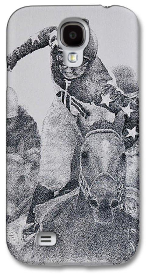 Horses Horse Racing Jockeys Racetrack Azeri Thorobreds Galaxy S4 Case featuring the painting Last Call by Tony Ruggiero