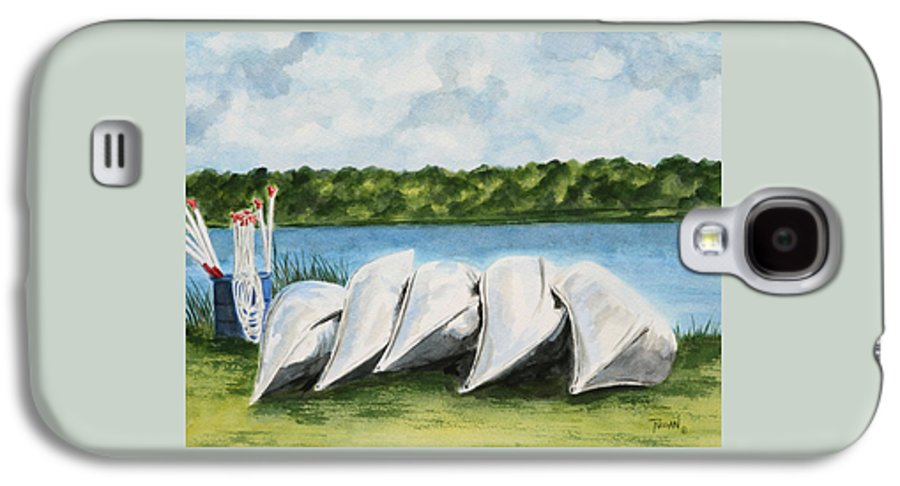 Canoes Galaxy S4 Case featuring the painting Lazy River by Regan J Smith