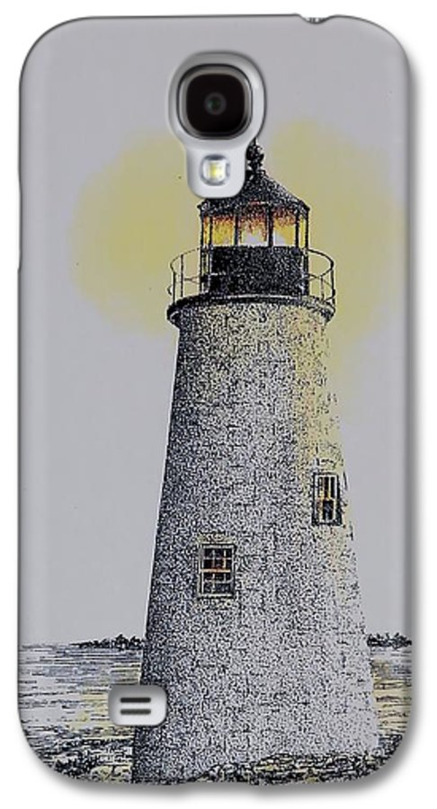 New England Lighthouse Seascape Landscape Pen & Ink Watercolor Coastline Connecticut Galaxy S4 Case featuring the painting Light On The Sound by Tony Ruggiero