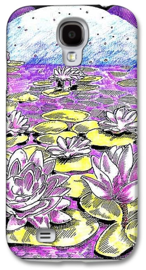 Lilies Of The Lake Galaxy S4 Case featuring the drawing Lilies Of The Lake by Seth Weaver