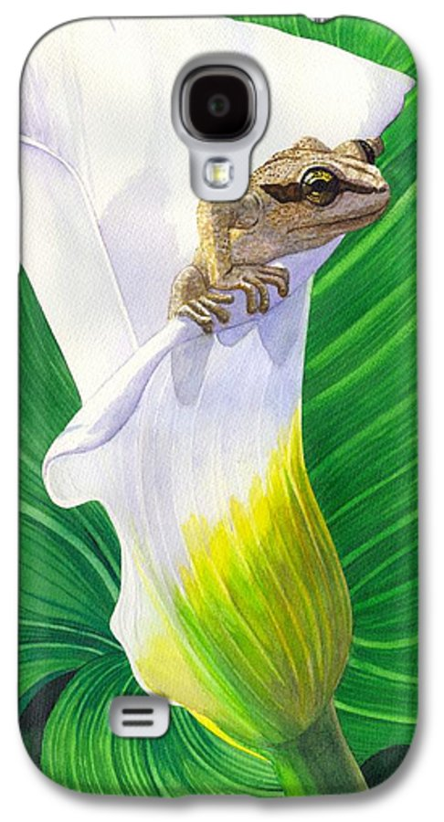 Frog Galaxy S4 Case featuring the painting Lily Dipping by Catherine G McElroy
