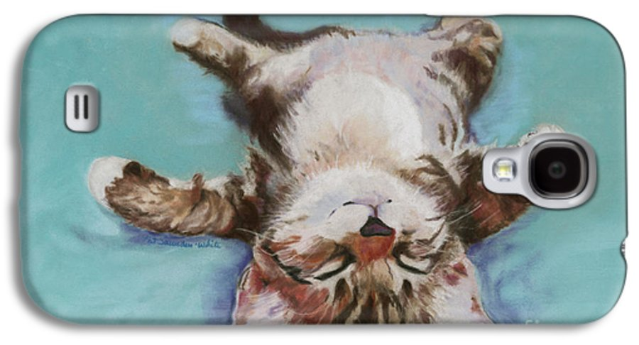 Cat Painting Galaxy S4 Case featuring the pastel Little Napper by Pat Saunders-White