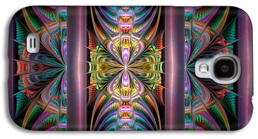 Abstract Galaxy S4 Case featuring the digital art Loonie Behind Bars by Peggi Wolfe
