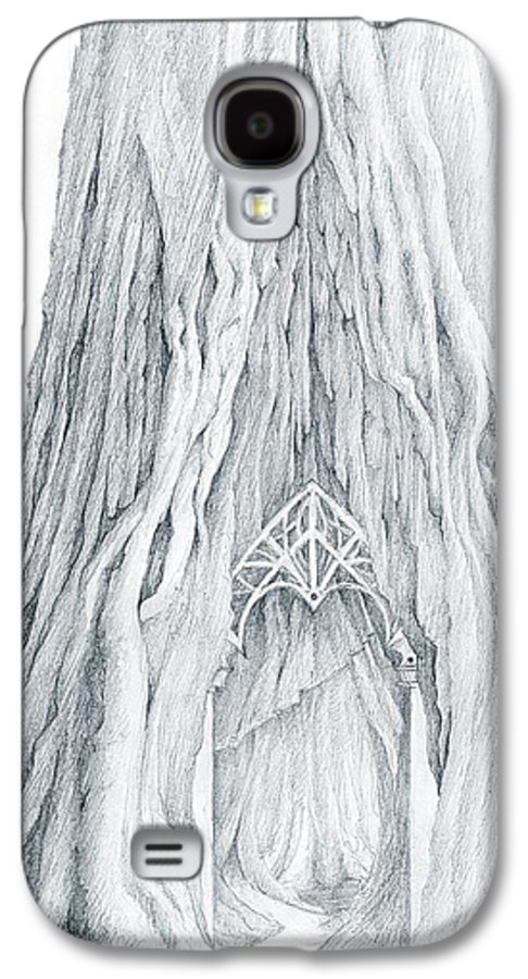 Lothlorien Galaxy S4 Case featuring the drawing Lothlorien Mallorn Tree by Curtiss Shaffer