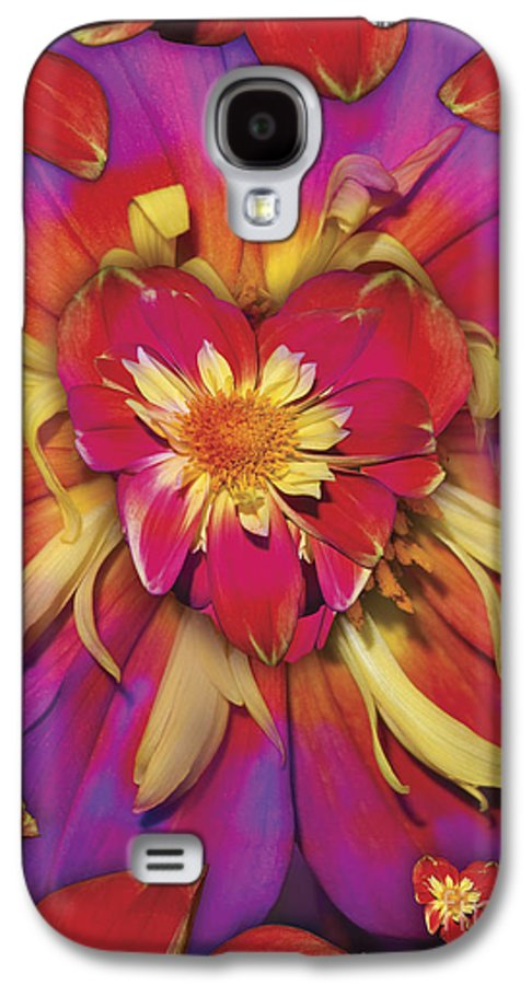 Abstract Galaxy S4 Case featuring the digital art Loveflower Orangered by Alixandra Mullins