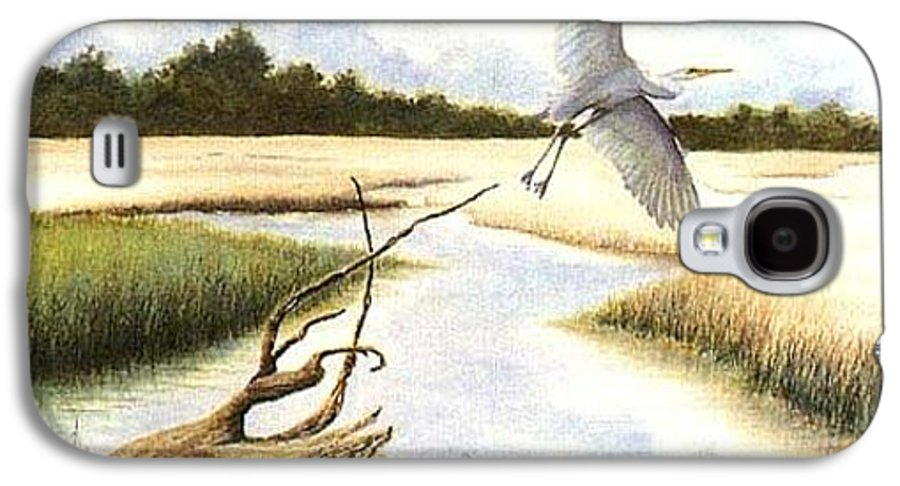 Egret Galaxy S4 Case featuring the painting Low Country Marsh by Ben Kiger