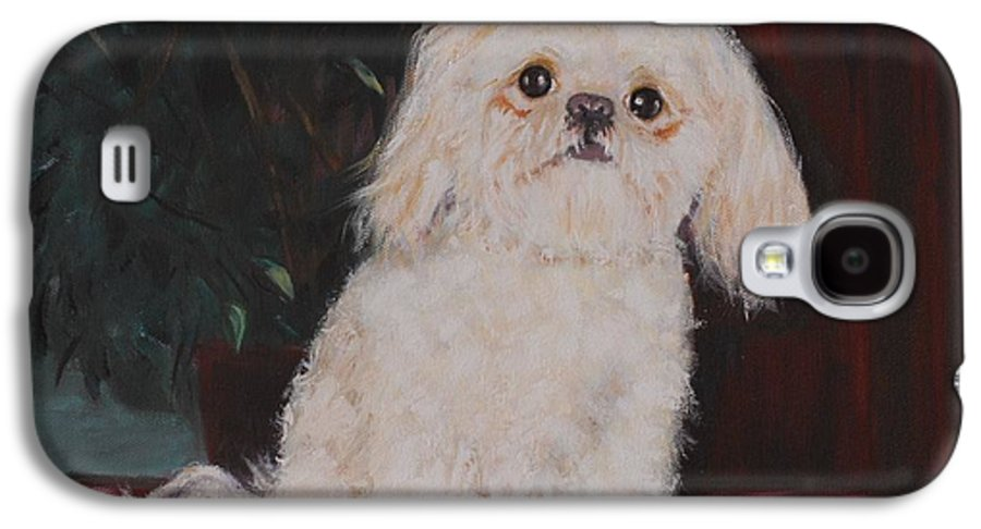 Dog Galaxy S4 Case featuring the painting Lulu by Quwatha Valentine