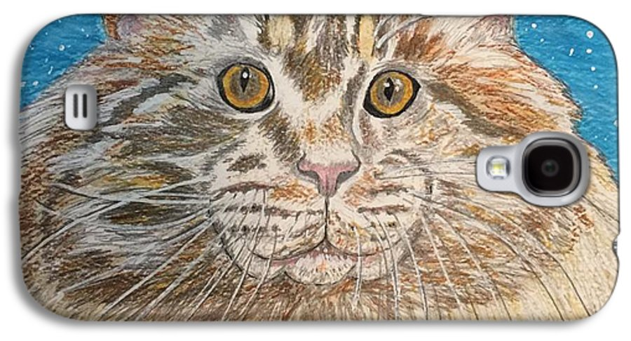 Maine Galaxy S4 Case featuring the painting Maine Coon Cat by Kathy Marrs Chandler