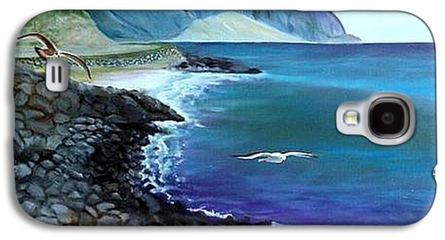 Malibu Beach Galaxy S4 Case featuring the painting Malibu Beach by Lora Duguay