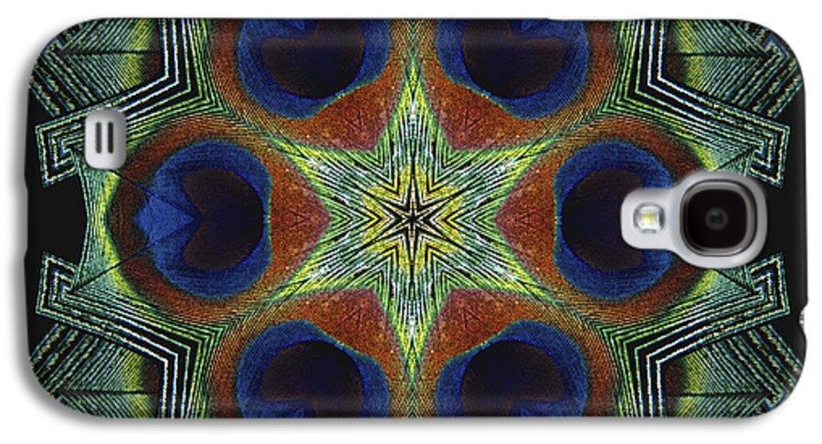 Mandala Galaxy S4 Case featuring the digital art Mandala Peacock by Nancy Griswold