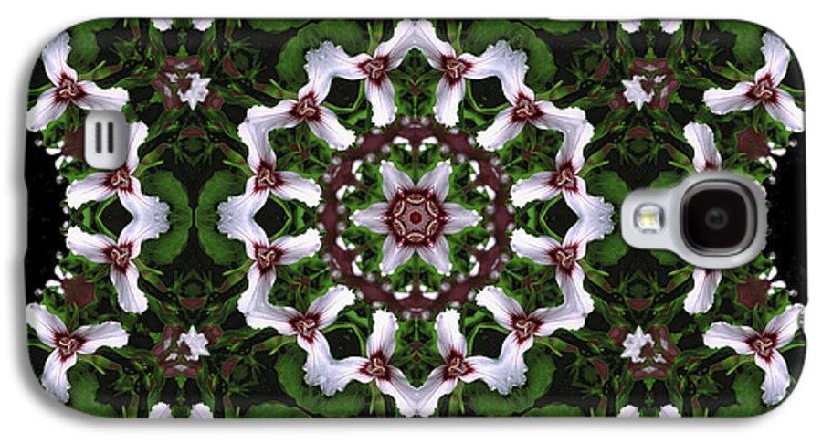 Mandala Galaxy S4 Case featuring the digital art Mandala Trillium Holiday by Nancy Griswold