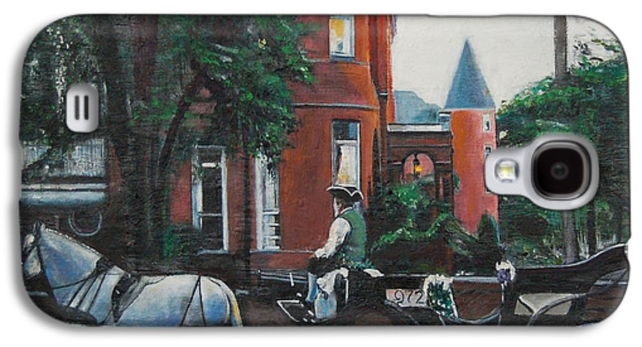 Galaxy S4 Case featuring the painting Mansion On Forsythe Savannah Georgia by Jude Darrien