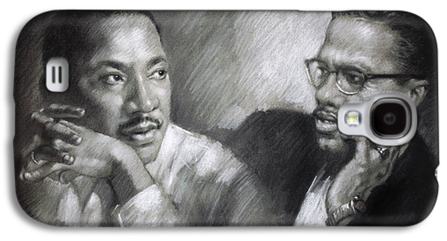 Malcolm X Galaxy S4 Case featuring the drawing Martin Luther King Jr And Malcolm X by Ylli Haruni