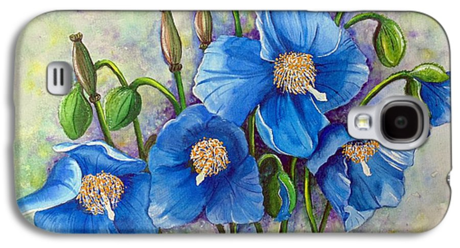 Blue Hymalayan Poppy Galaxy S4 Case featuring the painting Meconopsis  Himalayan Blue Poppy by Karin Dawn Kelshall- Best