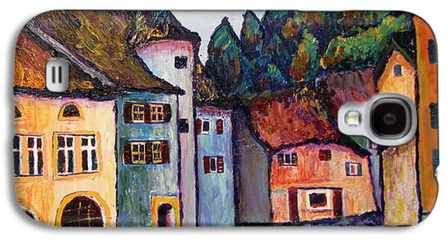 Medieval Galaxy S4 Case featuring the painting Medieval Village Of St. Ursanne Switzerland by Art Nomad Sandra Hansen