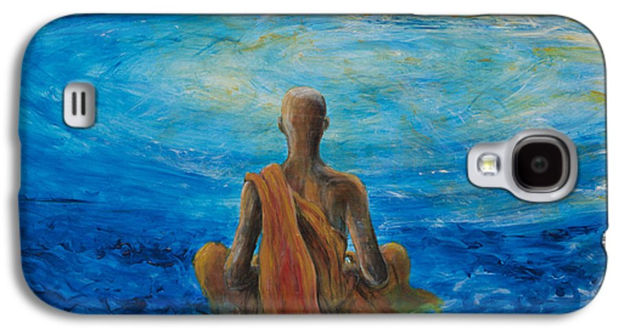 Monk Galaxy S4 Case featuring the painting Meditation by Nik Helbig