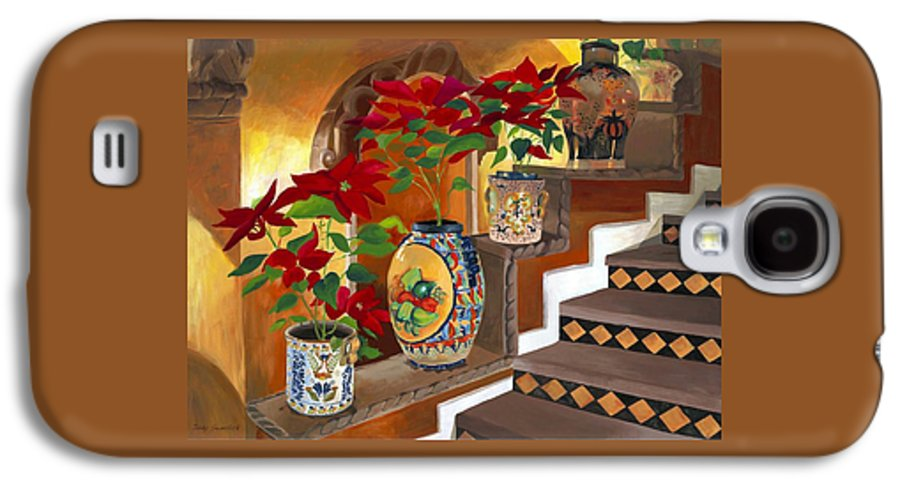 Mexican Pottery Galaxy S4 Case featuring the painting Mexican Pottery On Staircase by Judy Swerlick