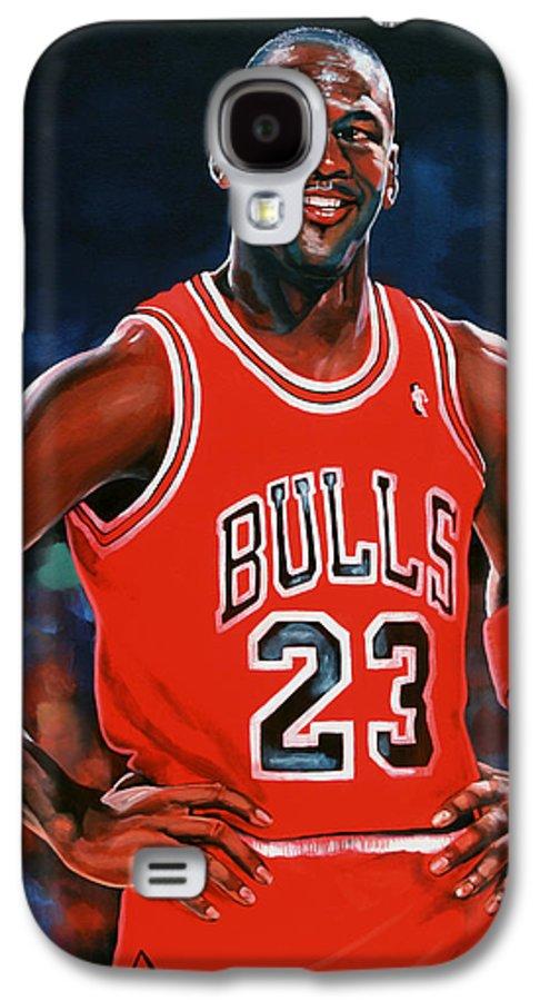 Michael Jordan Galaxy S4 Case featuring the painting Michael Jordan by Paul Meijering