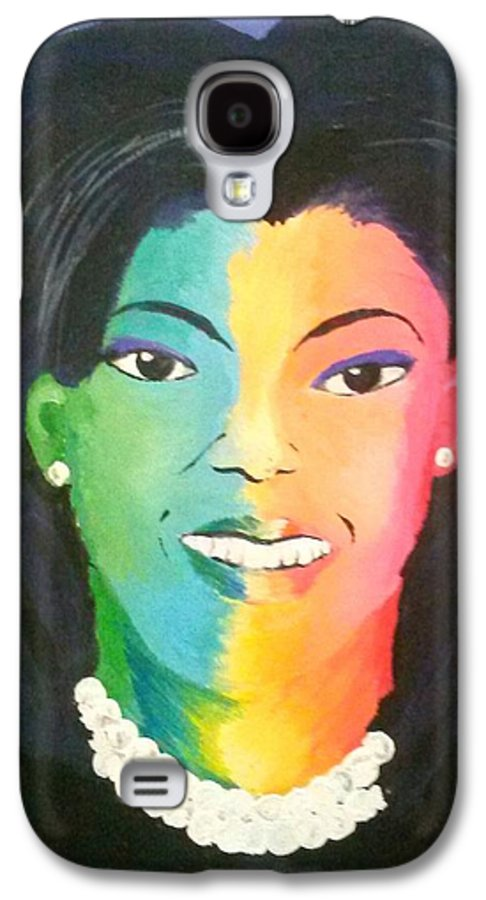 Michelle Obama Galaxy S4 Case featuring the painting Michelle Obama Color Effect by Kendya Battle