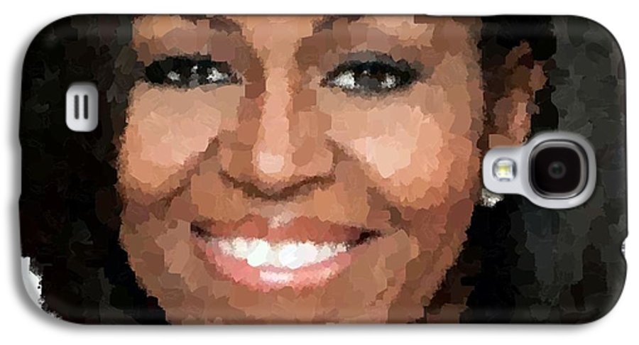 Michelle Galaxy S4 Case featuring the painting Michelle Obama by Samuel Majcen