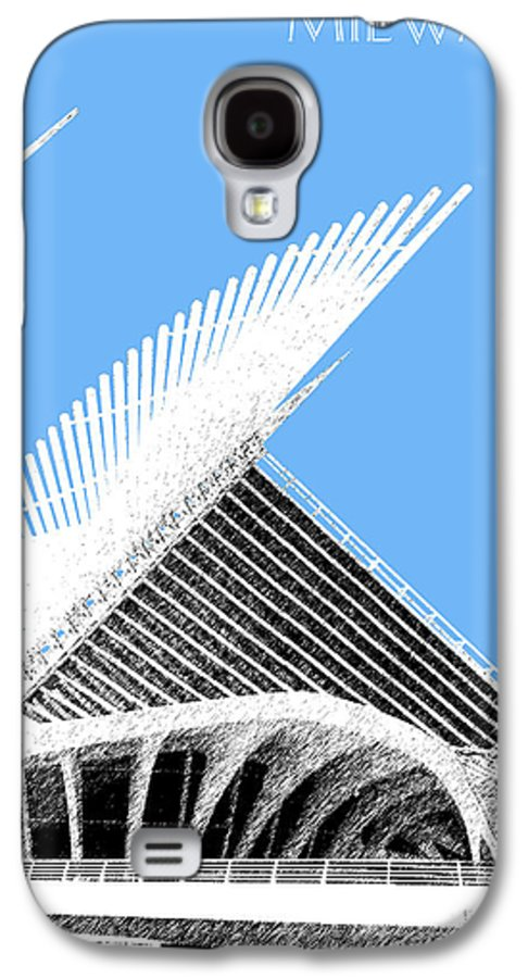 Architecture Galaxy S4 Case featuring the digital art Milwaukee Skyline Art Museum - Light Blue by DB Artist
