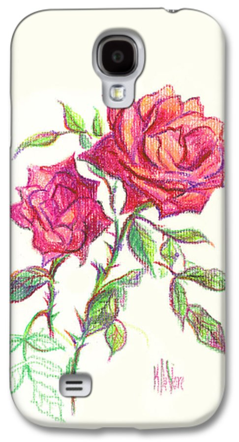 Nature Galaxy S4 Case featuring the painting Minature Red Rose by Kip DeVore