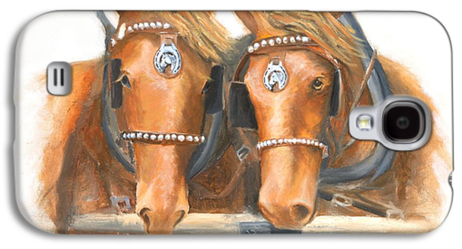 Horse Galaxy S4 Case featuring the painting Mini And Jake by Jerry McElroy