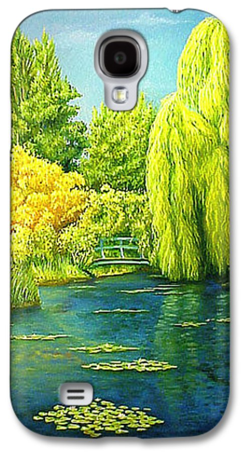 Monets Lily Pond Galaxy S4 Case featuring the painting Monets Lily Pond In Green by Gary Hernandez