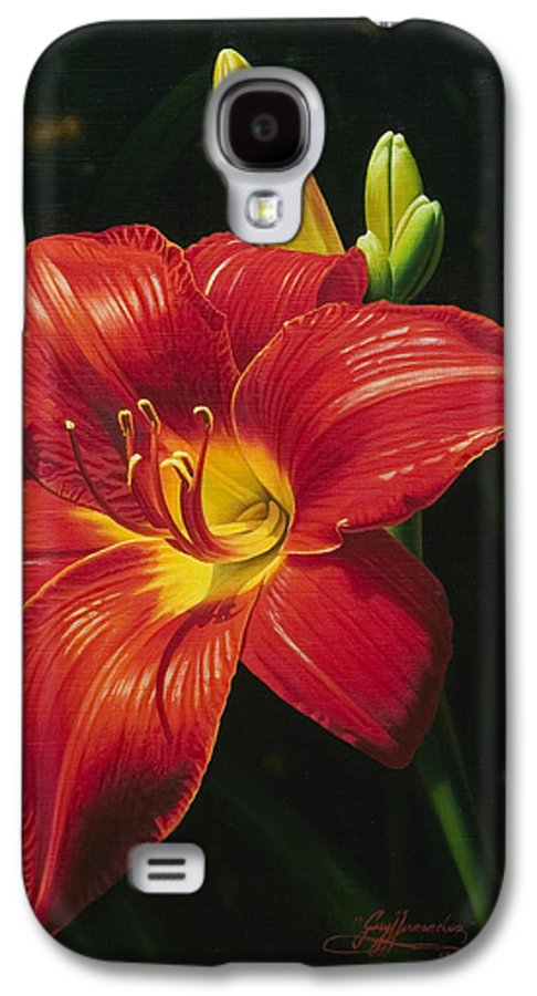 Lily Galaxy S4 Case featuring the painting Monikas Red Lily by Gary Hernandez