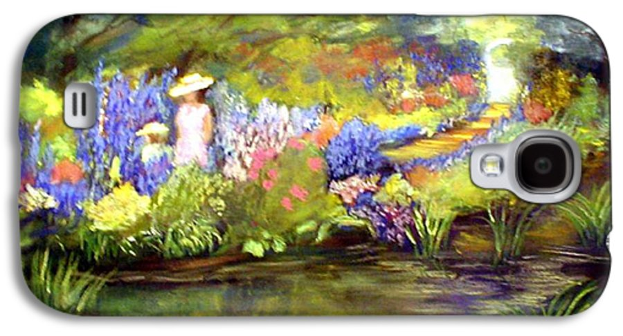 Flower Garden Galaxy S4 Case featuring the painting Mother And Daughter by Gail Kirtz