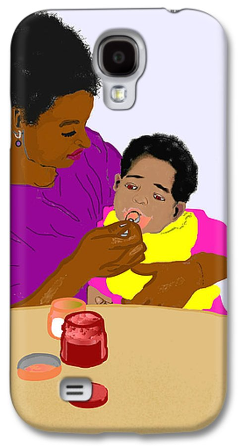 Mother Galaxy S4 Case featuring the painting Mother Feeding Her Baby by Pharris Art