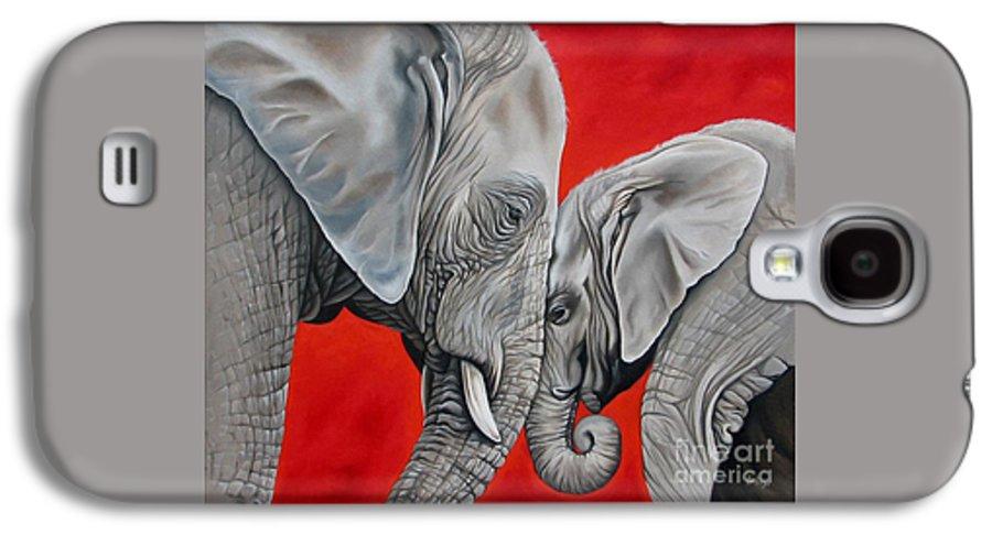 Elephant Galaxy S4 Case featuring the painting Mothers Love by Ilse Kleyn