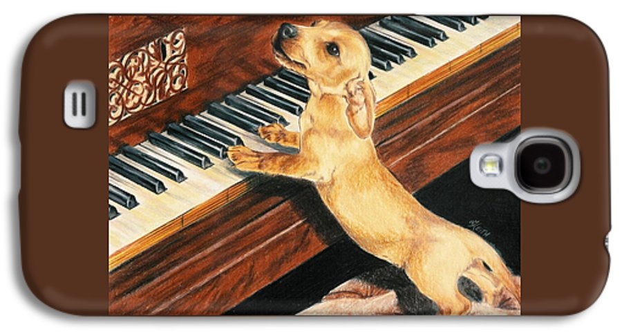 Dogs Galaxy S4 Case featuring the drawing Mozart's Apprentice by Barbara Keith